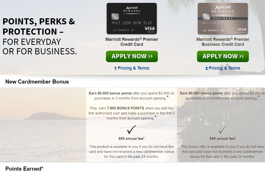 Best credit cards for points free stays the lazy travelers chase marriott 80000 7500 points and business 80000 points magicingreecefo Images