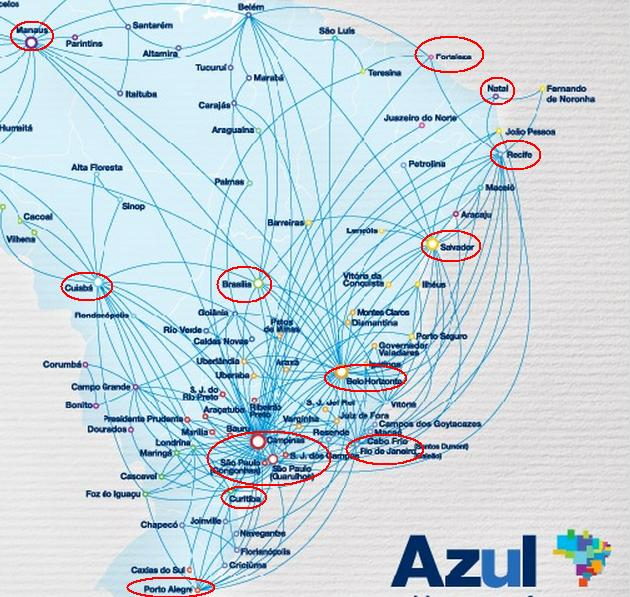 Massive aa azul award availability to world cup in brazil the since this map can be a bit confusing here are the non stop flights for each of the 12 world cup cities gumiabroncs Image collections