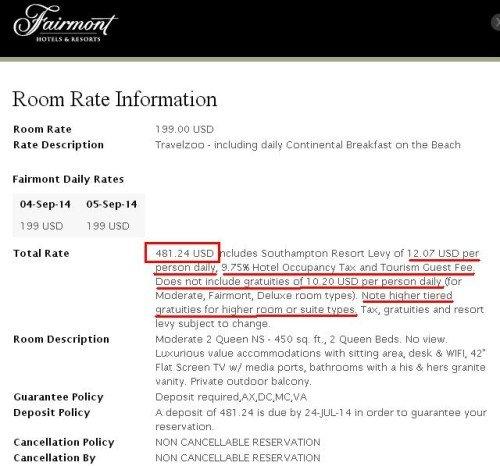 Fairmont fees