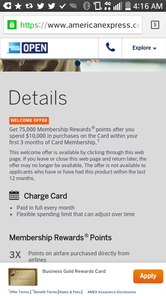 Amex business gold 75000 point bonus can be yours with a twist screenshot2014 11 12 04 16 34 colourmoves