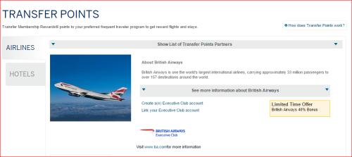 AMEX MR 40% Bonus for transfer to Avios