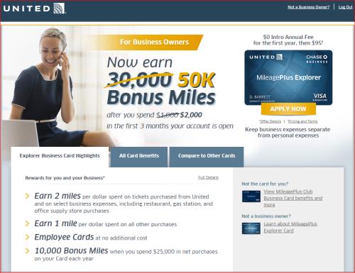 Chase United 50K Miles Business Card Bonus