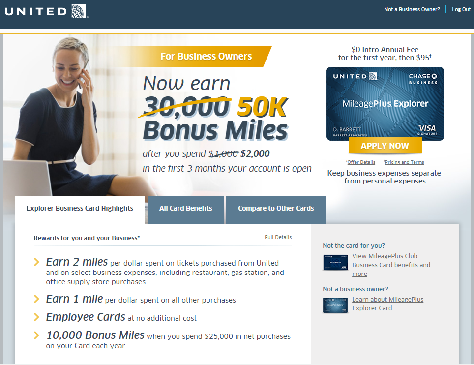 Chase United 50K Miles Business Card Bonus | Lazy Travelers Handbook