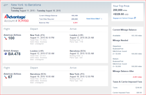 AA business  New York and Barcelona