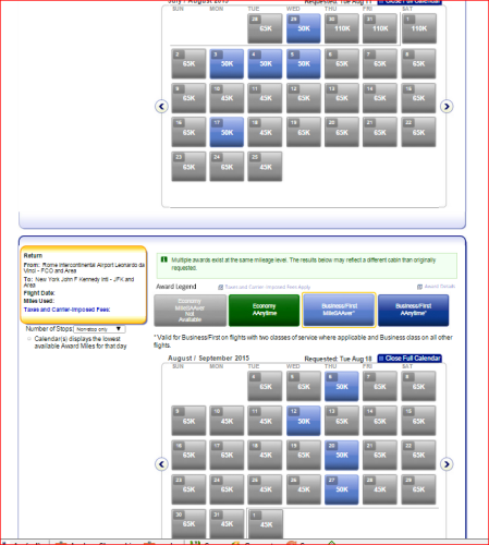 AA business class award availability between New York and Rome