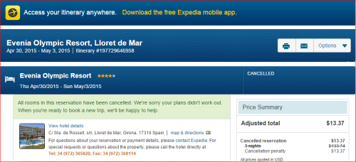 Expedia Cancellation