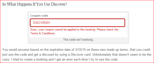 Expedia Coupon Fiasco: Discover Wouldn't Book Either