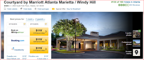 Marriott 2015 Changes: 2 to 1 --  Atlanta/Marietta