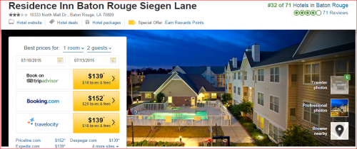 Marriott 2015 Changes: 2 to 1 --  Baton Rouge/Siegen Lane