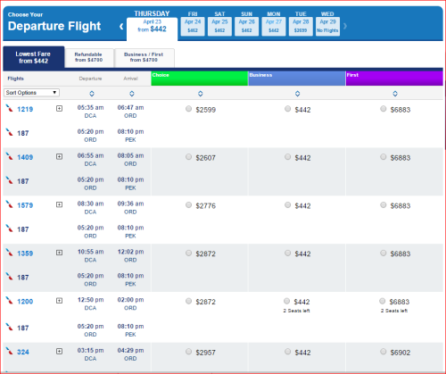 DCA to PEK - $442