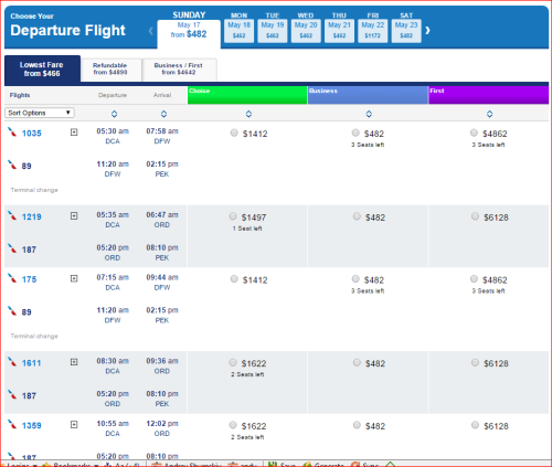 DCA to PEK - $482