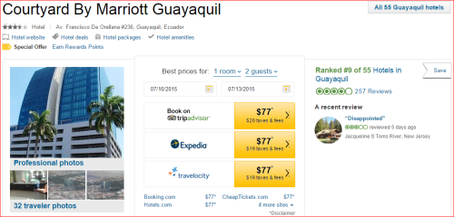 Marriott 2015 Changes: 2 to 1 -- Guayaquil, Equador
