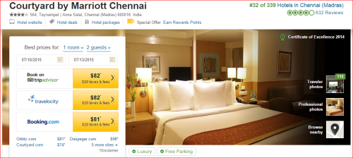 Marriott 2015 Changes: 2 to 1 -- Chennai/Madras, China