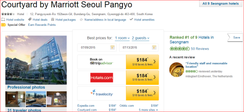 Marriott 2015 Changes: 5 to 4 -- Seoul/Pangao, Korea