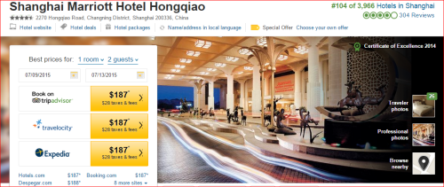 Marriott 2015 Changes: 3 to 2 -- Shanghai Hongqiao