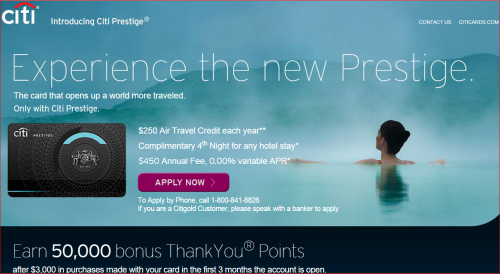 Citi Prestige 50000 Point Offer
