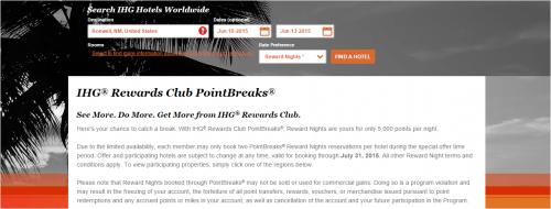 IHG PointBreaks: May 26-July 31, 2015