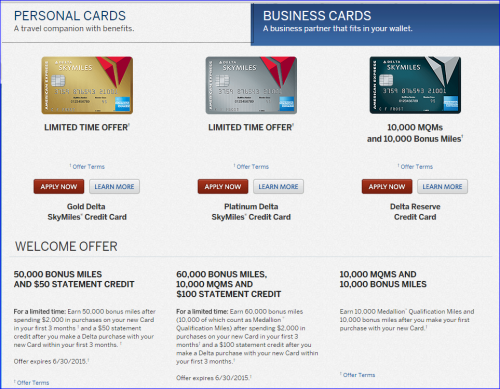 Best Credit Cards for Miles — Delta 50000 and 60000 Offers