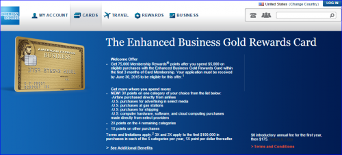 Best Credit Cards for Miles — AMEX Enhanced Business Gold Card 75000 Points Offer