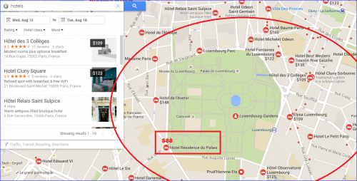 Paris Hotel Google Map Search