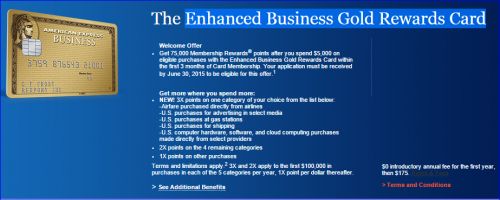 Miles Points Credit Cards Offers 6/14-6/21:  Amex Business Gold 75K Offer
