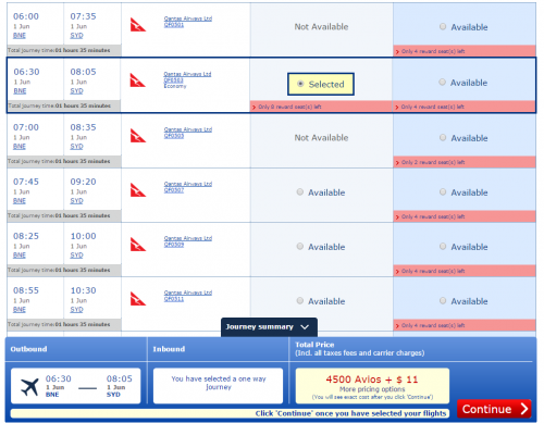 Delta Devaluation? BNE-SYD with Avios