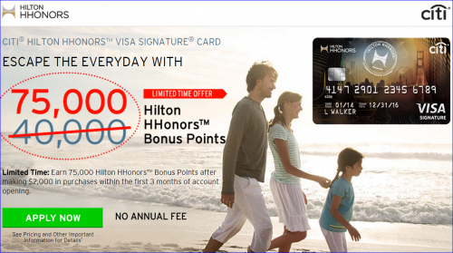 Citi Hilton HHonors --- Record 75000 Points Offer