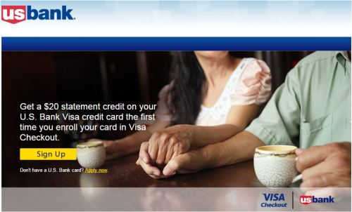 Miles Points Credit Cards: Free Visa Checkout $20 from US Bank