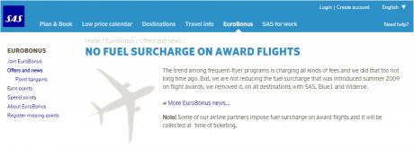 SAS Drops Fuel Surcharges