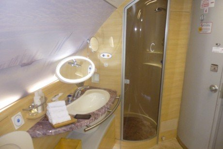 Emirates First Class Restroom and Shower