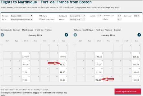 1 BOS - Fort De France Table