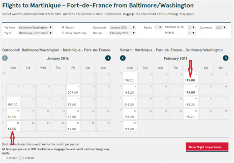Baltimore - Fort De France Table