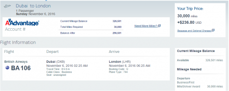 Fifth Freedom Flight between Dubai and London on BA