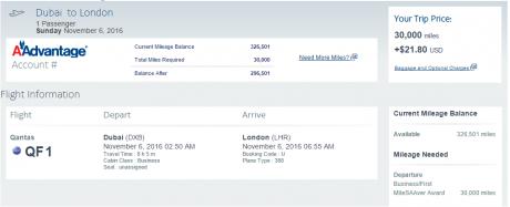 Fifth Freedom Flight between Dubai and London on Qantas