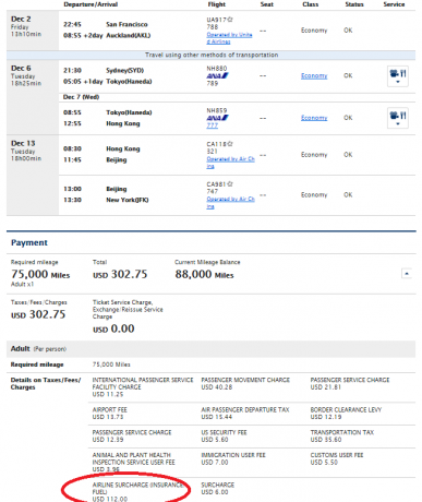 ANA Award Ticket JFK-SYD-AKL-HKG on ANA and CA Coach