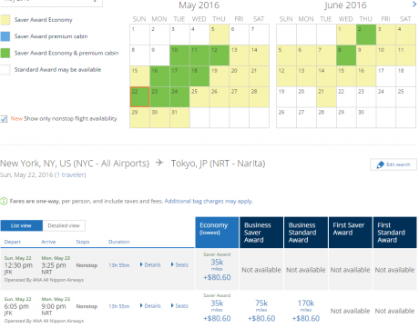 ANA Award Availability: ANA JFK-NRT SUMMER