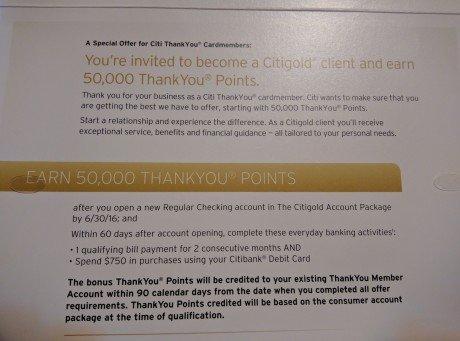 Citigold 50K Bonus