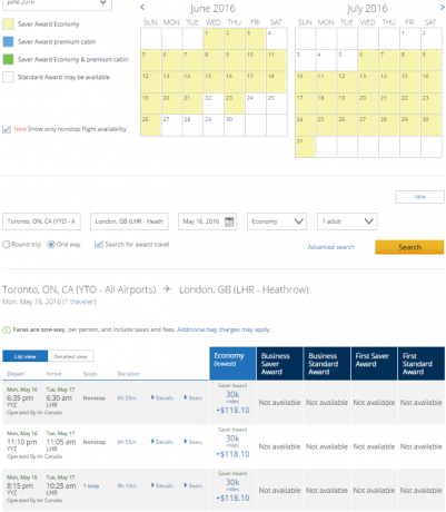 ANA Award Availability: TOR-LHR