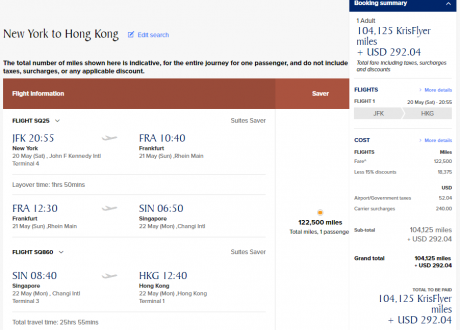 Gaming Singapore Suites Routes SIN JFK-SIN-HKG 5.20