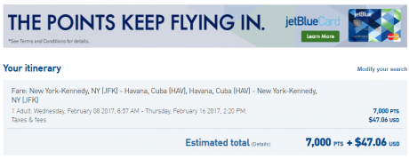JetBlue Cuba Travel b6-jfk-hav-7k-points-and-47