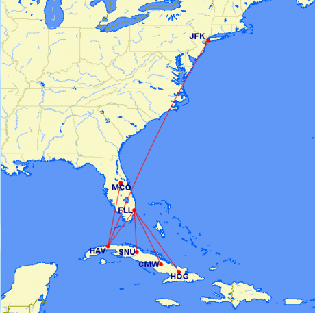 Flights to Cuba cuba-fligth-map