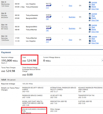 ANA Frequent Flyer Program ANA Mileage Club ana-yq-lax-nrt-bkk-nrt-lax