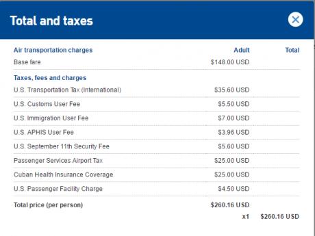 JetBlue Cuba Travel jb-jfk-hav-taxes