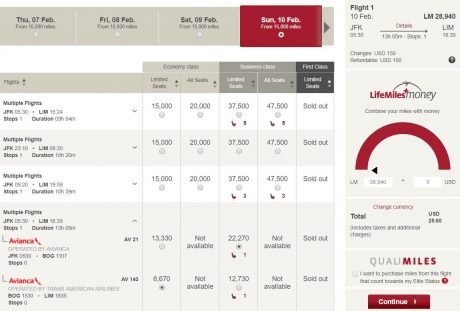 Avianca award sale