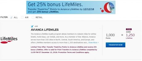 Transferring to Avianca LifeMiles