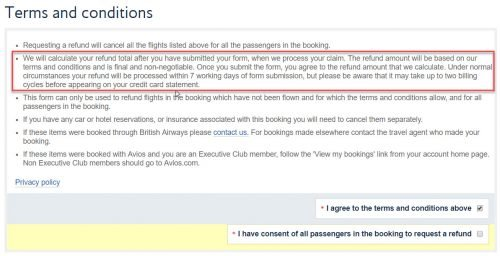 award travel cancellation fees: British Airways Avios