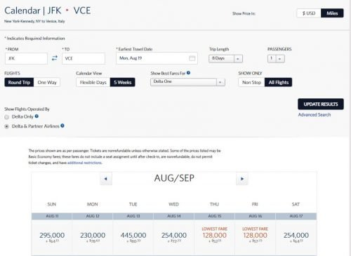 delta award sale jfk-vce