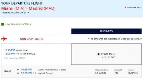 amex flying blue transfer bonus 60,000 Amex points for Miami-Madrid Business