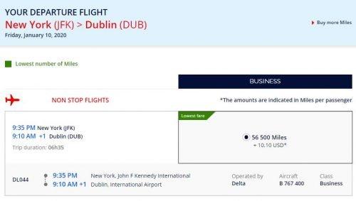amex flying blue transfer bonus Dublin in Business for 46,000 Amex points