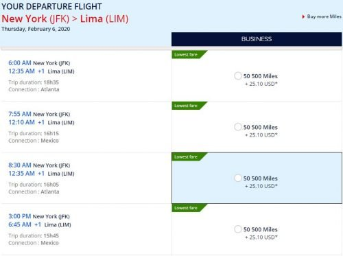 amex flying blue transfer bonus 41,000 in business New York to Lima